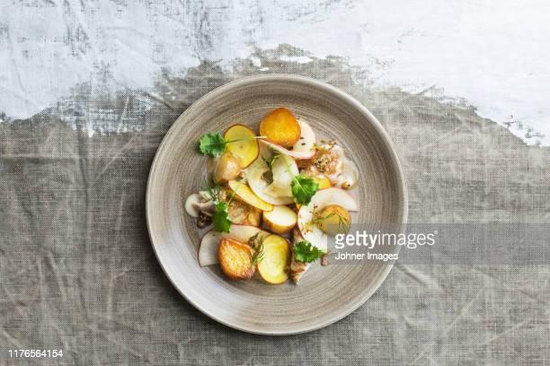 food on plate - ジャガイモ料理 ストックフォトと画像