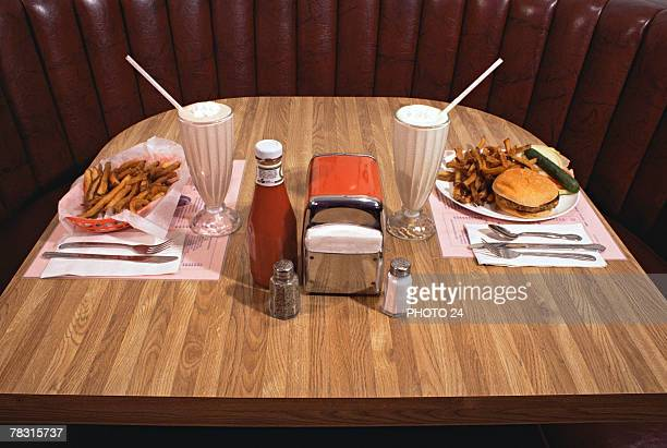 Food on table at diner