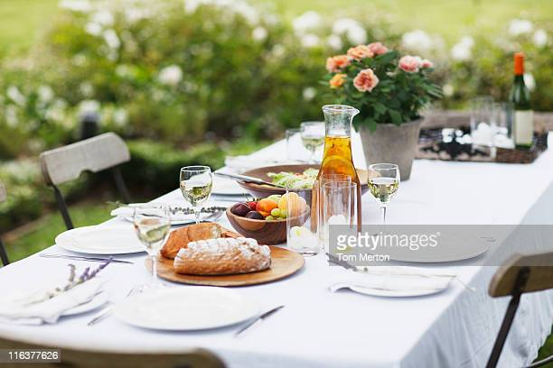 Food on table in garden
