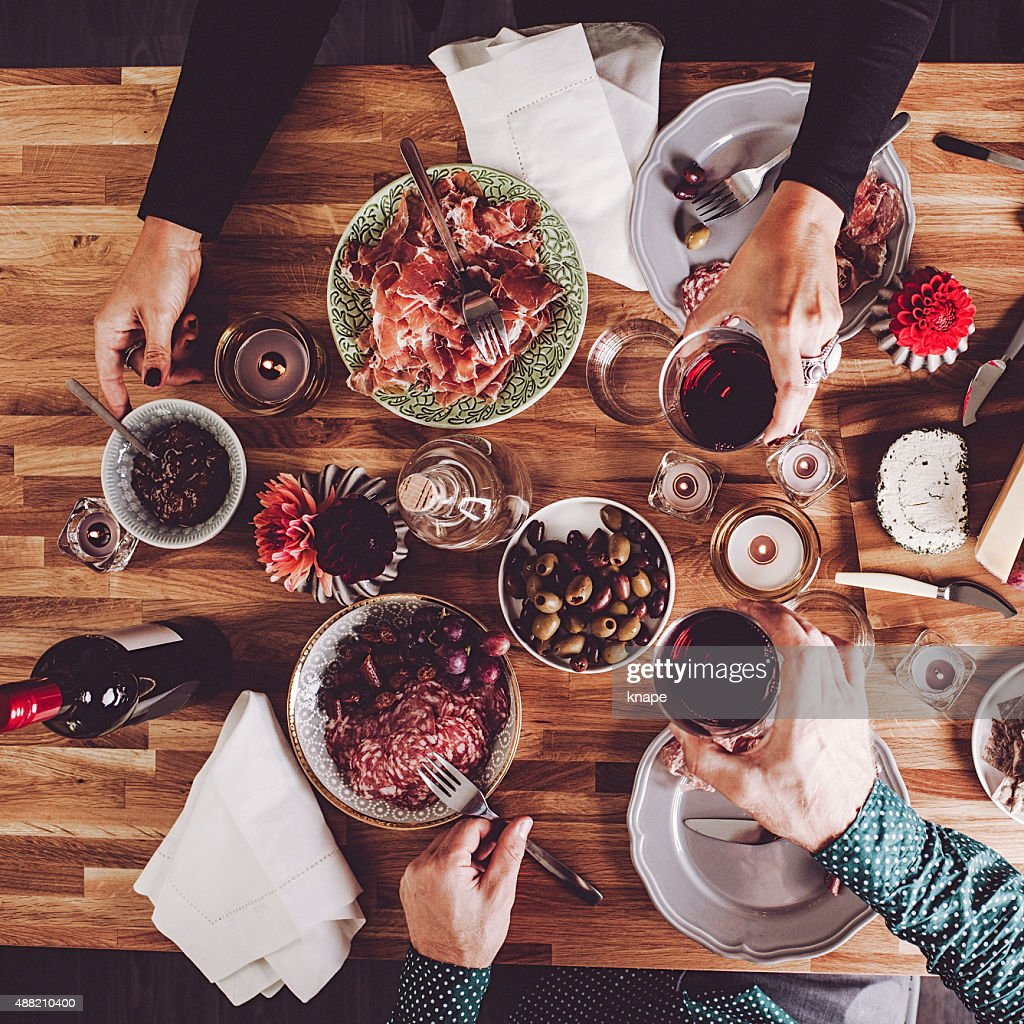 Food on table overhead table top view : Stock Photo