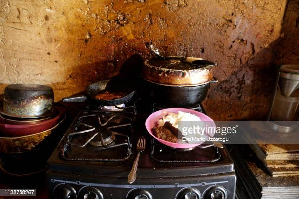 Food on the stove at Yunni´s house in La Bombilla slum on April 18 2019 in Caracas Venezuela Yunni works for the government as a garbage collector...