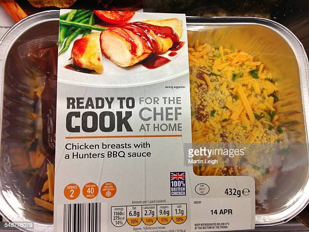 Food packaged ready to cook meal chicken breasts with a hunters bbq sauce UK