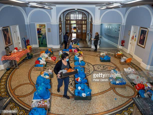 Food parcels ready for delivery at the Tottenham food bank at Tottenham Town Hall on January 21 ,2021 in London, England. Tottenham has a...