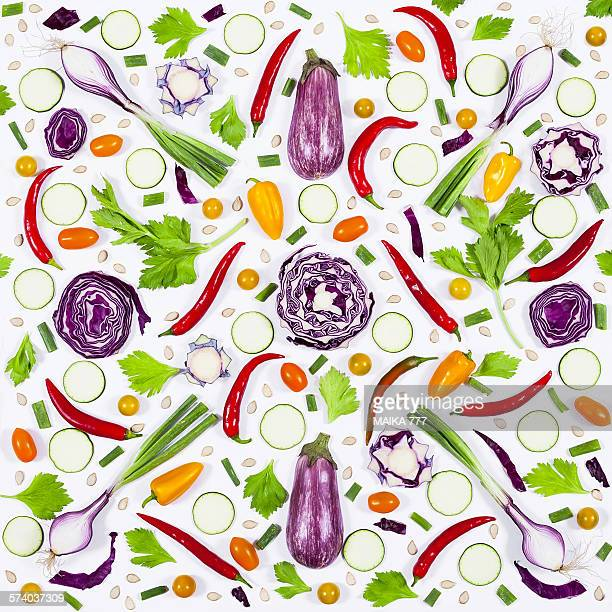 Food pattern with fresh vegetables