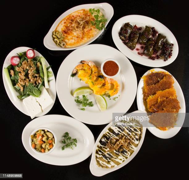 food platter at persian restaurant - nowruz stock pictures, royalty-free photos & images