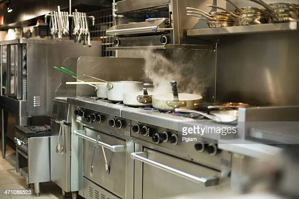 Food preparation in a restaurant kitchen