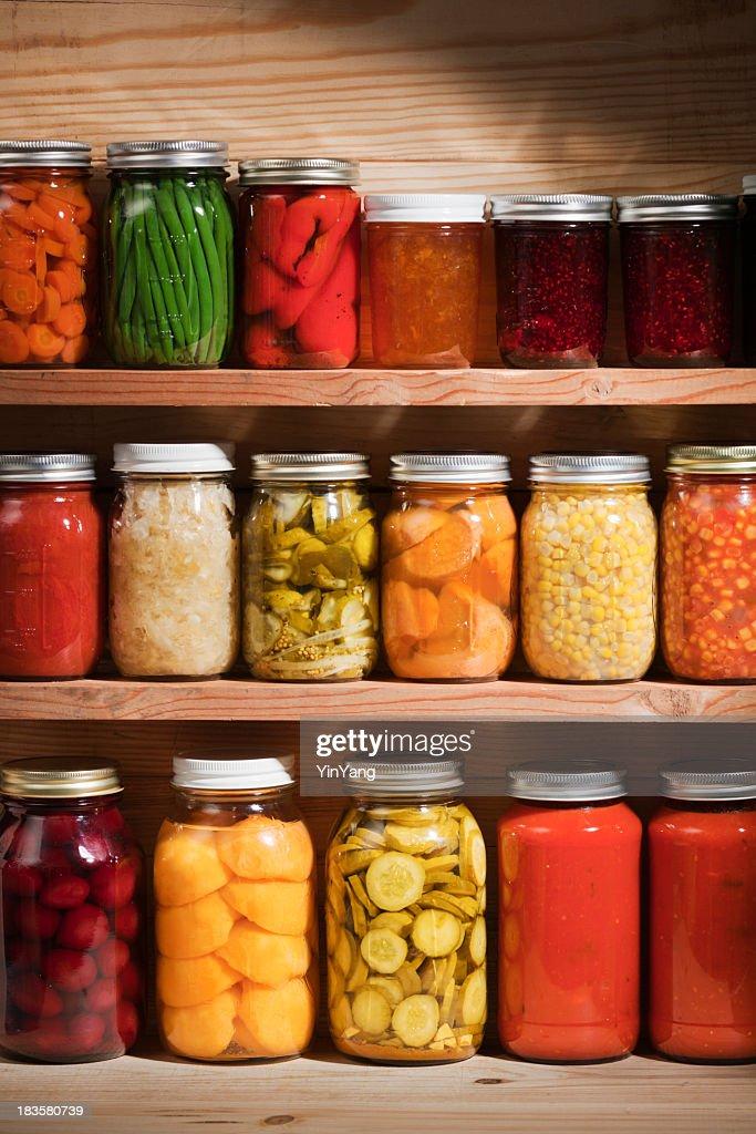 Food Preserves Canning Jars on Shelves, Fruit and Vegetable Storage : Stock Photo