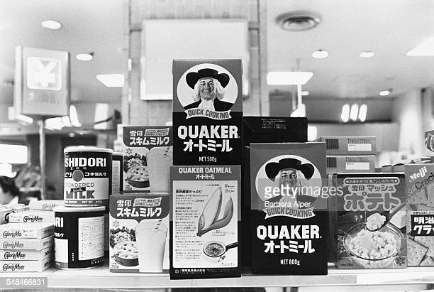 Food products, including Quaker Oats with labels in English and Japanese, on display in a Tokyo department store, February 1988.
