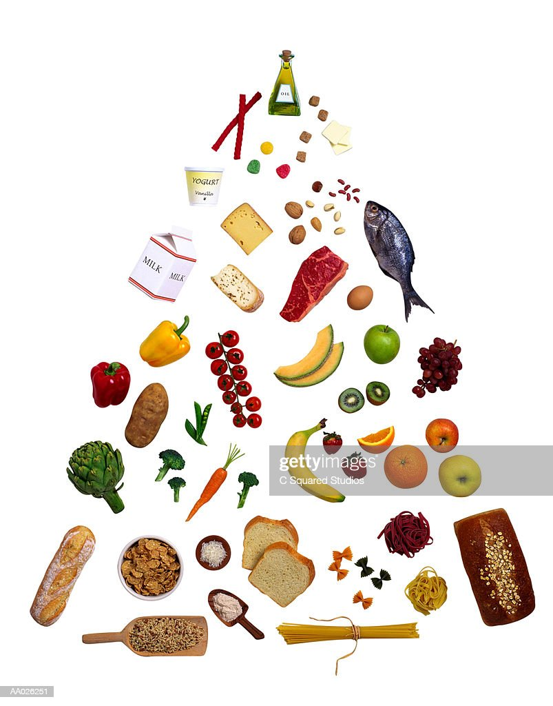 Food Pyramid With Elements Of A Balanced Diet Stock Photo