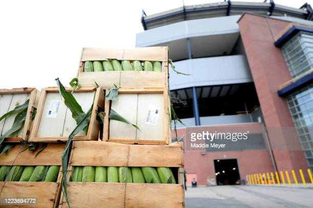 Food ready for delivery sits in front of Gillette Stadium as part of the SoupR Bowl on May 08 2020 in Foxborough Massachusetts The Patriots...