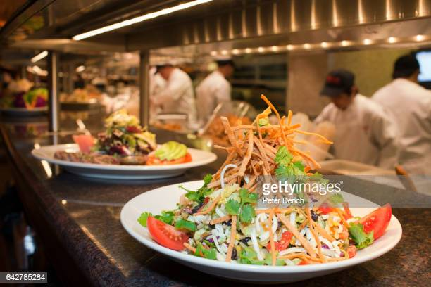 Food ready to serve at The Cheesecake Factory in the Mall of the Emirates the US chain's largest outlet with 526 seats Diners can look out onto the...
