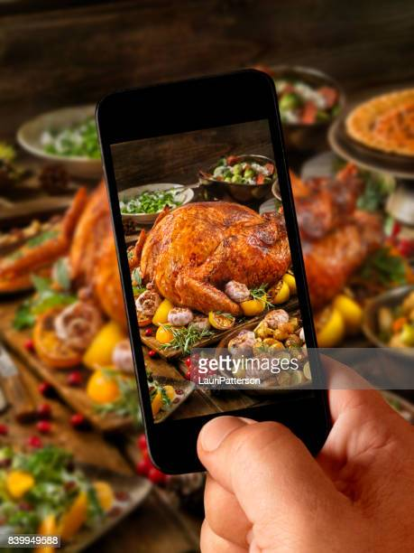 food selfie -holiday turkey dinner - happy thanksgiving text stock pictures, royalty-free photos & images