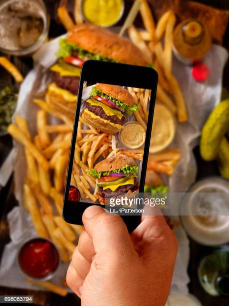 Food Selfie of Burgers and Fries