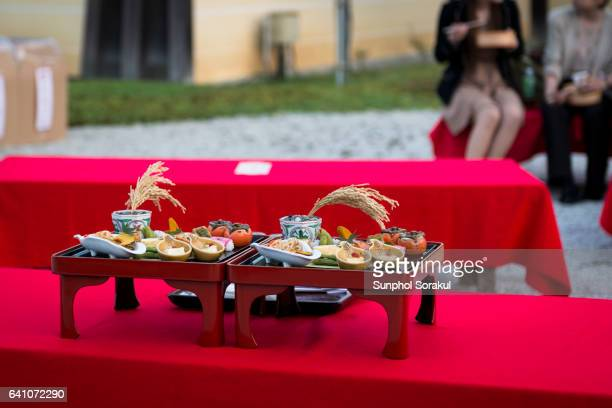 Food served on Ozen tray during moon viewing festival