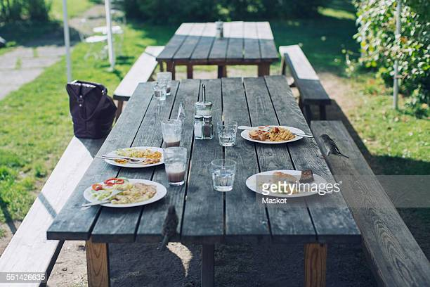 Food served on table at outdoor restaurant
