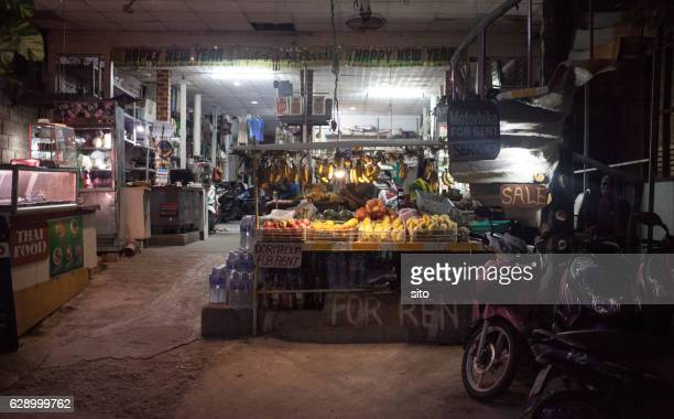 Food shop front at night in Koh Tao, Thailand