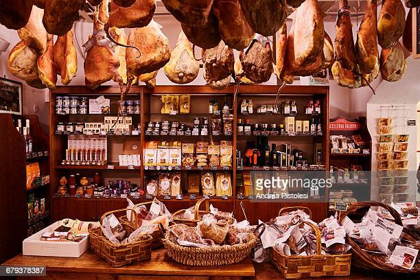food shop in chianti, tuscany, italy - butcher's shop stock pictures, royalty-free photos & images