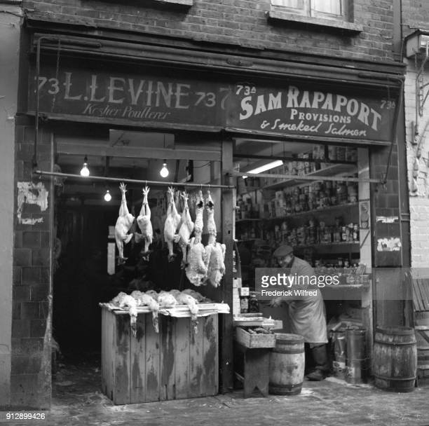 Food shops Kosher Poultry 'L Levine' Sam Rapaport Provisions London UK circa 1955