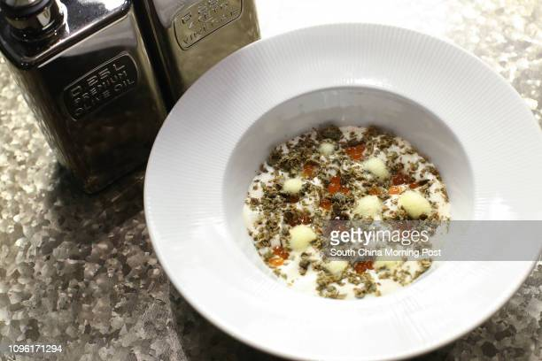 Food shot of 'Potato cream with olive oil salmon caviar capers and lemon' at Va Bene Soho 189 Queen's Road West in Sheung Wan 15APR16 [RESTAURANT...