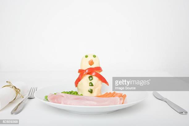 A food snowman on a plate