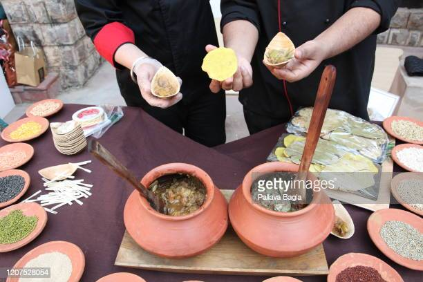 A food stall in the National Museum serving Indus foods for free on February 20 2020 in New Delhi India What did humans eat 5000 years ago in one of...