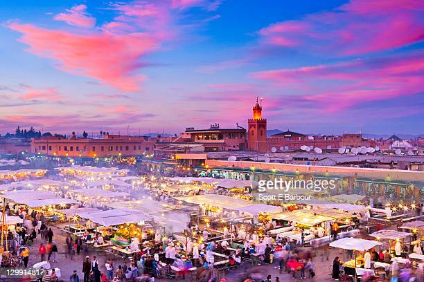 Food stalls and shopping at Djemaa el-Fna Square