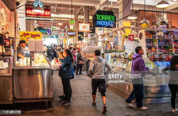 food stalls in grand central market, los angeles - pop up store stock pictures, royalty-free photos & images