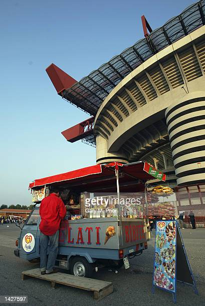 Food Stalls outside the San Siro Stadium before the UEFA Champions League match between AC Milan and RC Lens held at the Giuseppe Meazza San Siro...