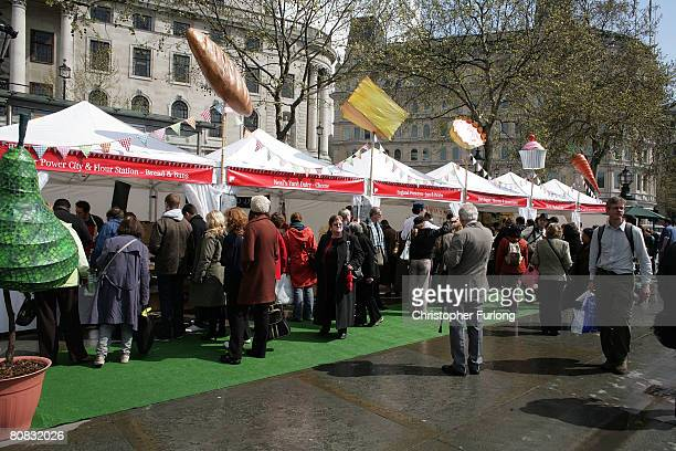 Food stalls sell authentic English food during the festivities on Saint George's Day in Trafalgar Square on April 23 2008 in London England The...