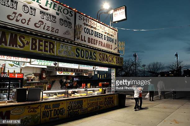 Food stand along Surf Avenue in Coney Island, Brooklyn, New York City