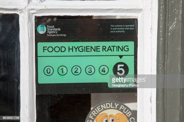 Food Standards Agency hygiene rating sign notice awarding five stars Suffolk England Uk
