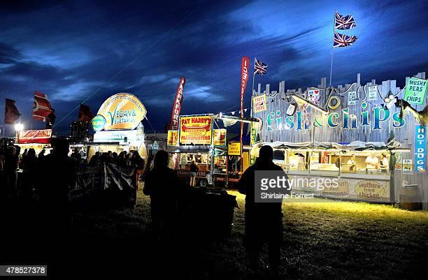 Food stands at the Glastonbury Festival at Worthy Farm Pilton on June 25 2015 in Glastonbury England