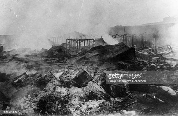 Food stores in Moscow deliberately burnt to the ground circa 1917