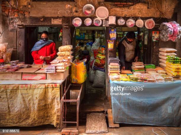 Food stuff shop in Kathmandu, Nepal - March 11, 2017