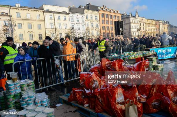 Food supplies and christmas gifts bags seen during the 21st Edition of the Biggest Christmas table in Europe at the Main Square in Krakow The so...