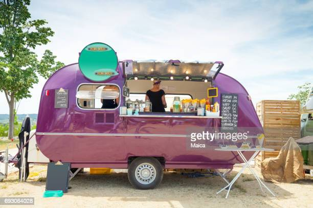 food truck and happy owners - food truck stock photos and pictures