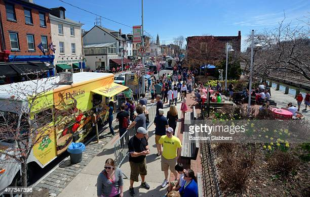Food Truck Festival on Manayunk' Main Street in Philadelphia, PA