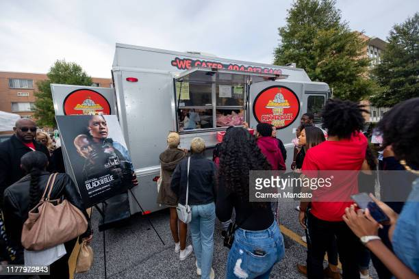 A food truck is seen during the Black Blue cast members' visit to Morehouse College on October 24 2019 in Atlanta Georgia