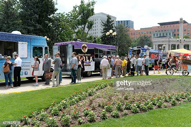 Food truck vendors set up for the afternoon lunch crowd June 18 2015 at Civic Center Park How are small businesses and entrepreneurs that use credit...