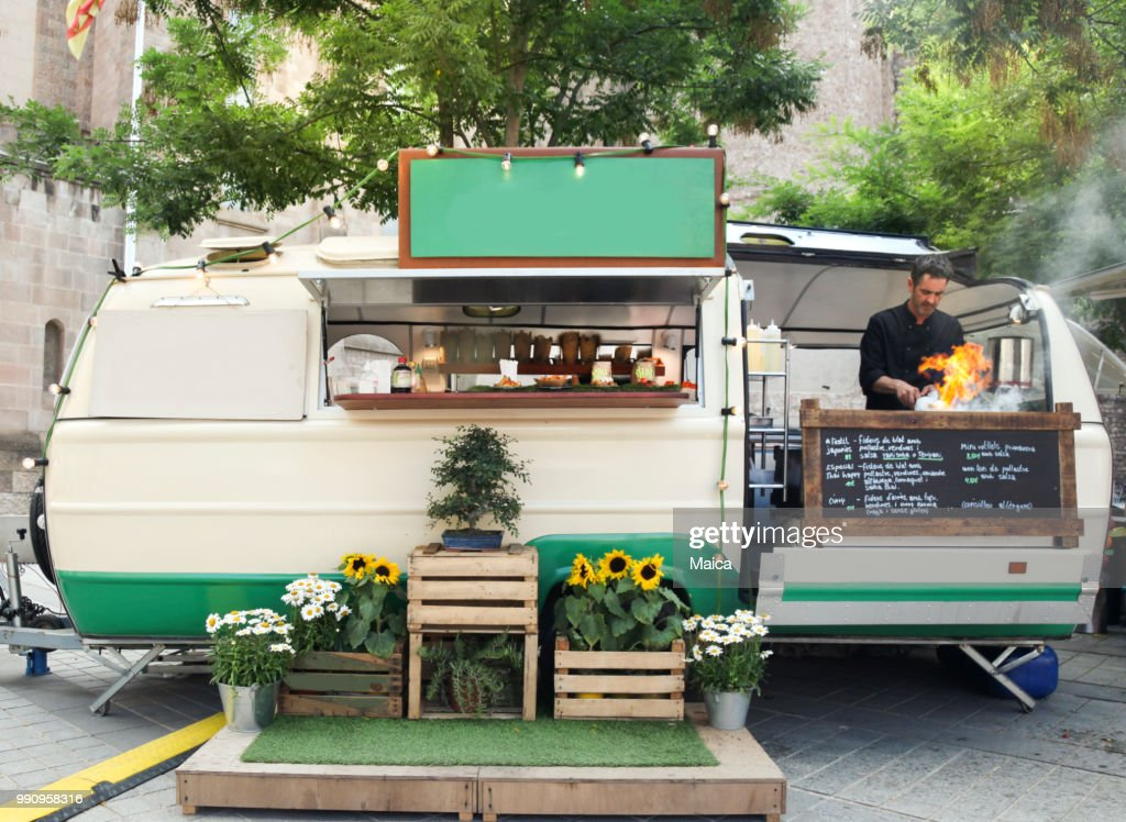 Wok de carro de comida : Foto de stock