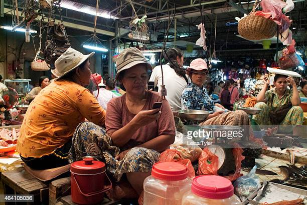 Food vendors at Psar Chaa market in Siem Reap a chaotic jumble of bodies and fresh produce plonked higgledypiggledy under a tin shed in the centre of...