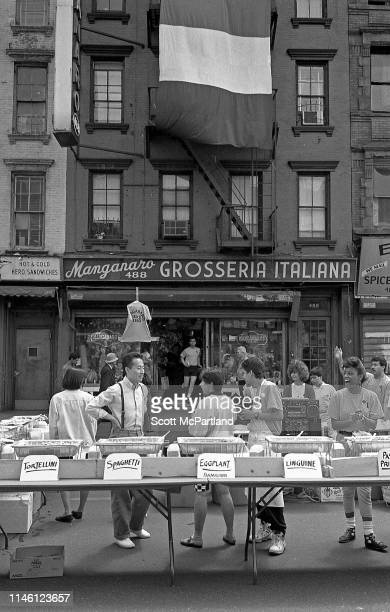 Food vendors sell various pastas and other Italian foods outside the Manganaro Grosseria Italiana in Hell's Kitchen during the International Food...
