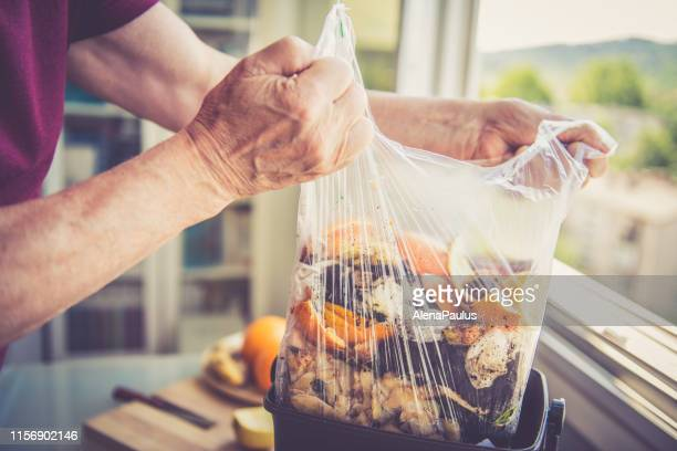 Food waste Close Up, Composting at Home and Zero Waste