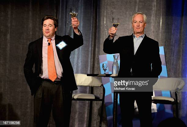 Food Wine Executive Wine Editor Ray Isle and American Express Publishing President CEO Ed Kelly speak onstage during The American Express Publishing...