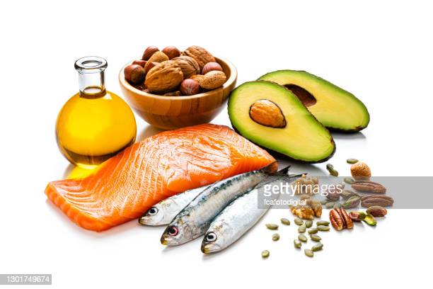 food with high content of healthy fats isolated on white background - fatty acid stock pictures, royalty-free photos & images