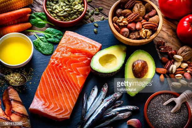 food with high content of omega-3 fats - fatty acid stock pictures, royalty-free photos & images
