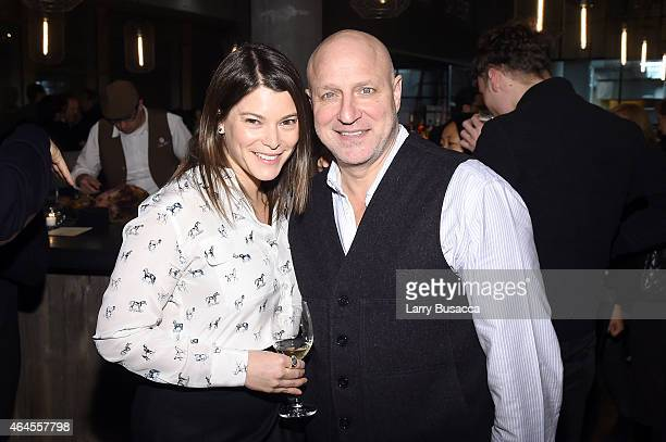Food writer Gail Simmons and Chef Tom Colicchio attend a celebration of The New SAVEUR at Chef George Mendes soontobe opened Lupulo Restaurant on...