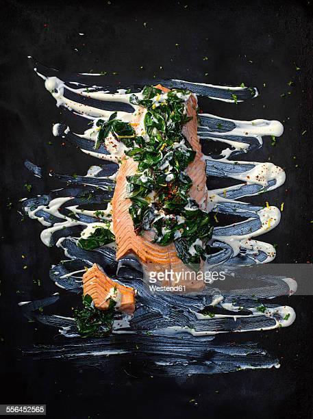 Foodart, salmon with chard, chili flakes, lemon peel, herbs, horseradish and remoulade