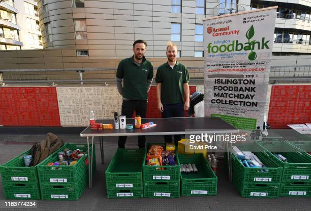 Foodbank drop off point before the Premier League match between Arsenal FC and Crystal Palace at Emirates Stadium on October 27, 2019 in London,...
