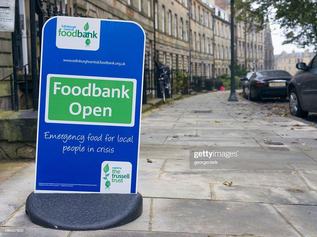 Foodbank sign in central Edinburgh : Stock Photo